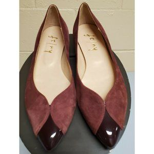 French Sole fs/ny Wine Burgundy Suede Black Patent